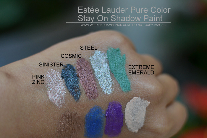 Estée Lauder Pure Color Stay On Shadow Paint Swatches Indian Beauty Blog New Makeup Cream Eyeshadows Pink Zinc Sinister Steel Extreme Emerald Cosmic