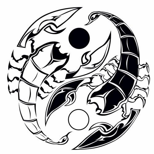 Yin Yang scorpions tattoo stencil
