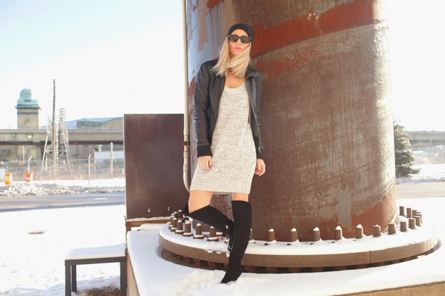 aritzia sweater dress, LK Bennett, Thigh high boots, super sunglasses