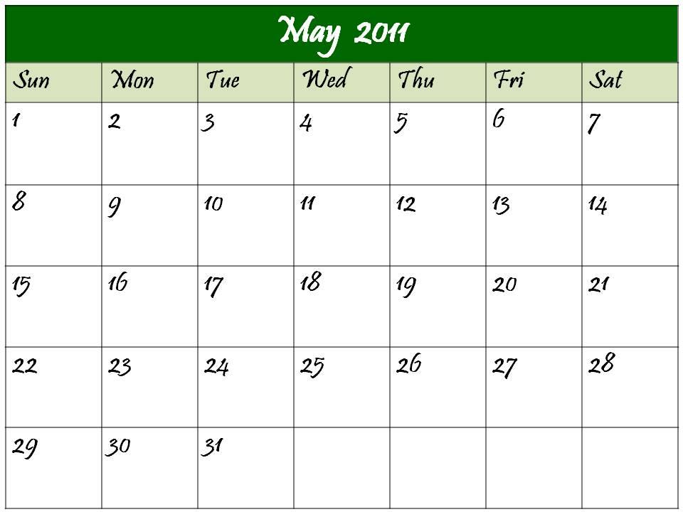 blank calendar 2011 may. may 2011 calendar blank.