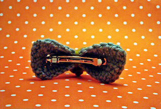 Handmade Crochet Hair Bow with Heart