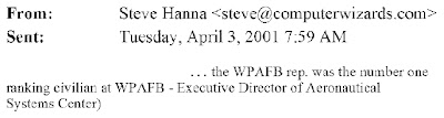 Fig. 5.1 – Internal Apr. 3, 2001 Leader email (composite graphic) written by engineer Steve Hanna confirming attendance by a WPAFB participant at a University of Dayton presentation on Apr. 2, 2001. This evidence was actually submitted by Facebook as DTX-1348, Trial Doc. No. 675-25.