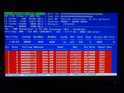Identificação de memórias RAM com o programa memtest86+