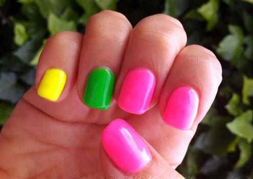 Unas Decoradas Unitas Pintadas Con Colores Neon W