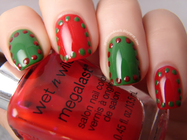 nails nailart nail art polish mani manicure Spellbound Christmas border borders dots dotted dotting red green holiday Sinful Colors Exotic Green Wet n Wild I Red a Good Book simple easy