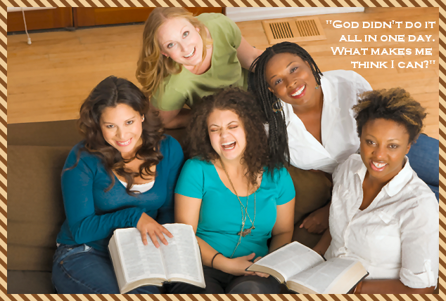 group of women laughing and reading bibles - Guest Post from Stacy@huddlenet.com - Taking Mommy and Daddy Timeouts @ATIPicalDay #parenttimeouts #marriageenrichment #ican'tdoitalone #ideasforrelaxing