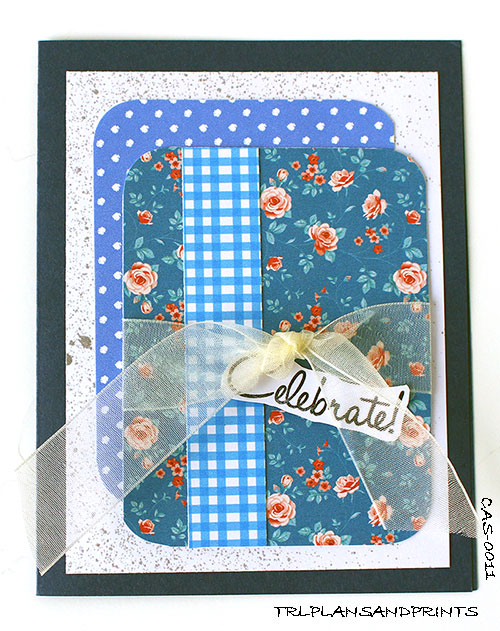 CELEBRATE IN VINTAGE BLUE GREETING CARD