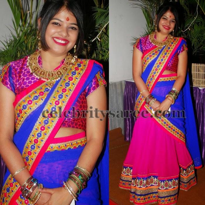 Gorgeous Women Colorful Half Saree