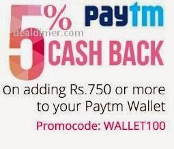 PayTm Wallet 5% Cashback on Rs. 750