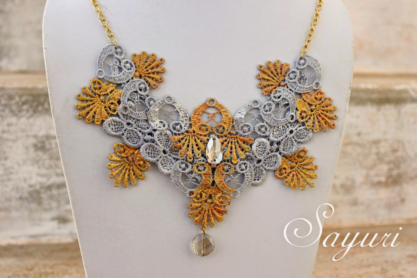 http://www.jewelsofsayuri.com/2014/08/metallic-lace-necklace-diy.html