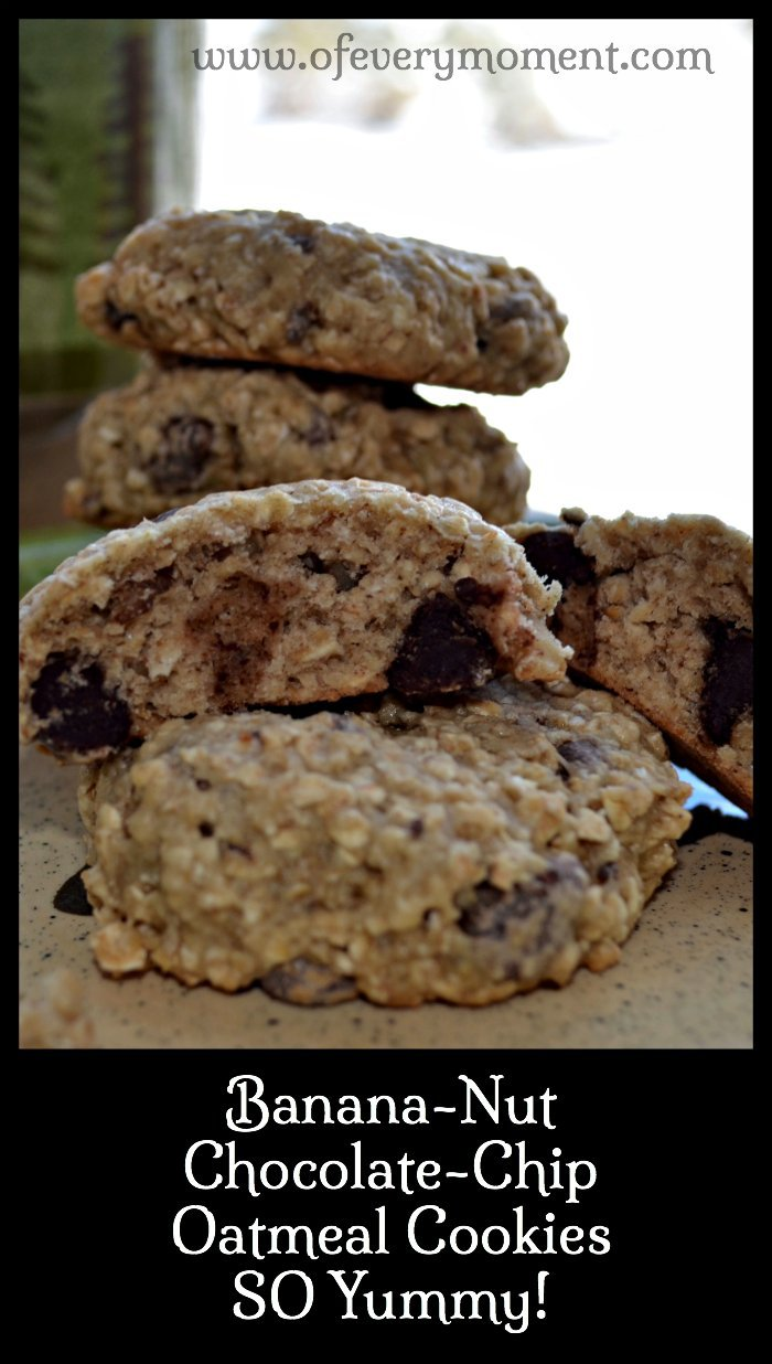 banana cookies with nuts, oatmeal and chocolate chips