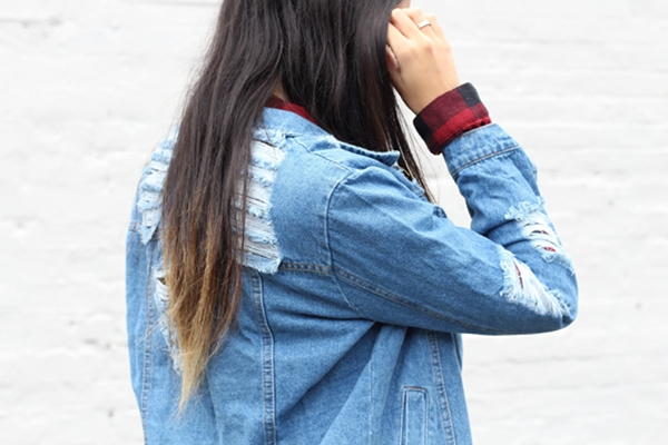 Dress Like Jess Jessica Lemos jesslemos ripped denim jacket choies red flannel