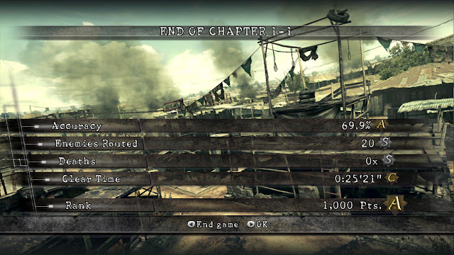 Resident Evil 5 chapter 1-1 stats