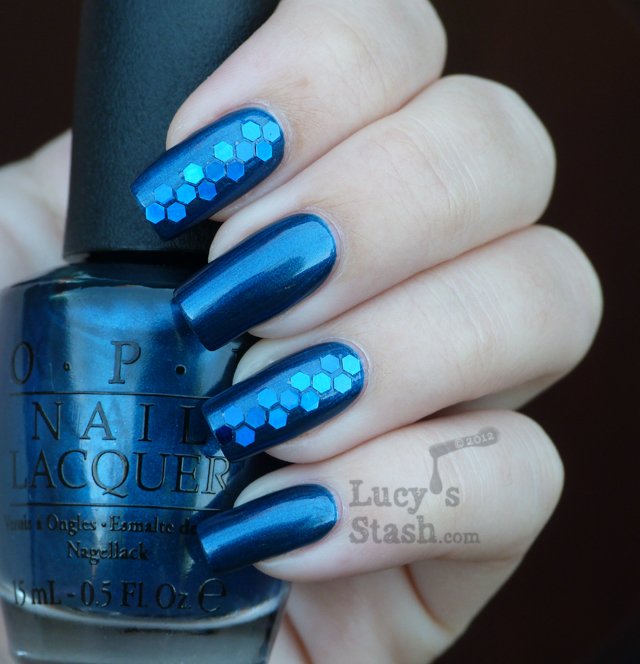 Lucy's Stash - Unfor-Greta-bly Blue in blue glitter nail art manicure