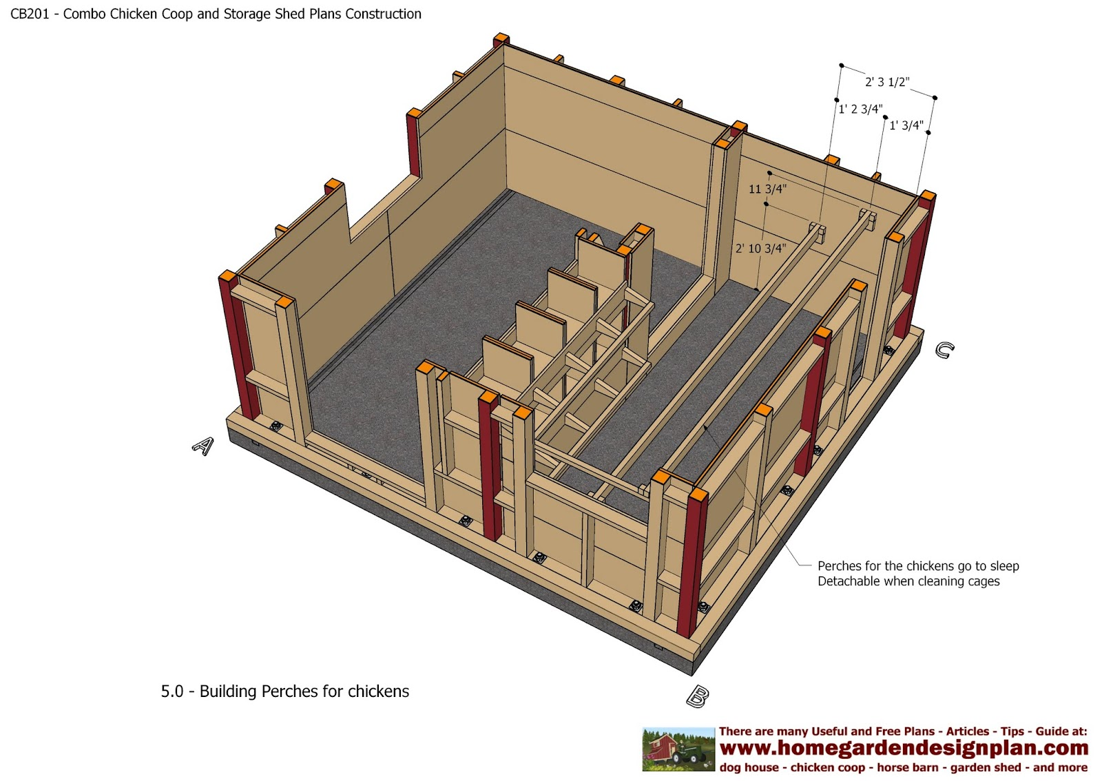 Shed plans colonial style cb201 combo plans chicken coop for Garden shed designs and plans