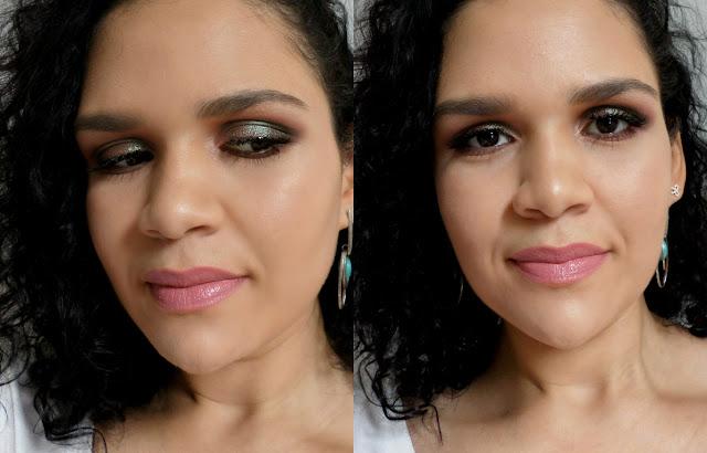 maquiagem marrom metalico e batom nude rosa