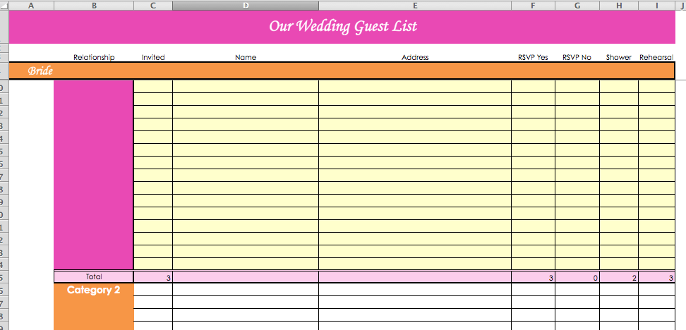 Wedding Planning Guest List Template] Blank Wedding Guest List ...
