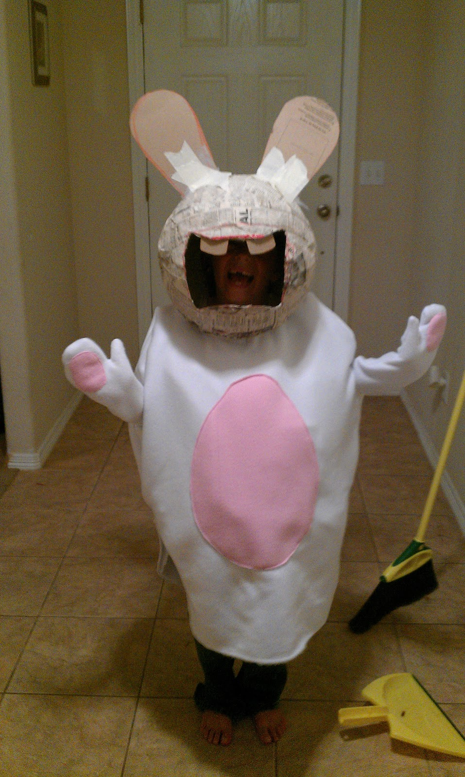 it was longer than needed because i needed it that way so i could attach legs - Raving Rabbids Halloween Costume