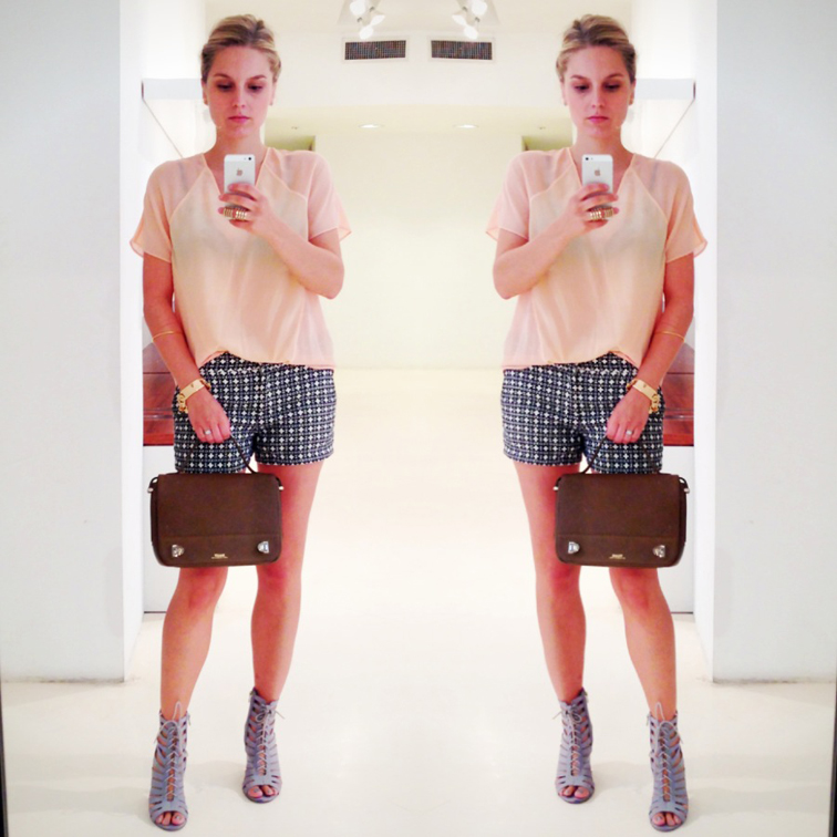 OOTD SELFIE BALLY DUFFY BAG SHOWROOM