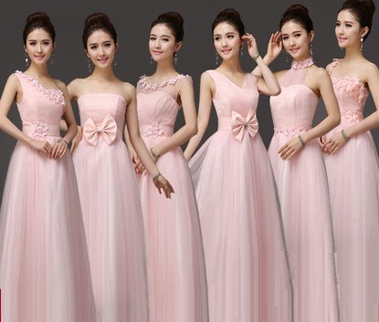 Six-Design Sweet Pink Tutu Lace Bridesmaids Maxi Dress