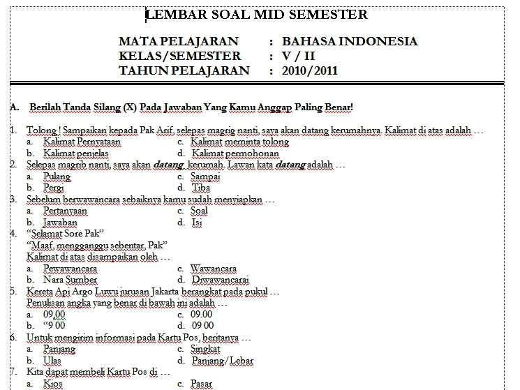 Download Soal Uts Bahasa Indonesia Kelas Semester Genap