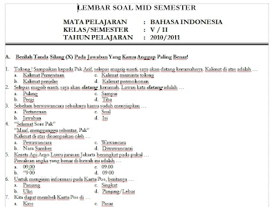 Download Soal UTS Bahasa Indonesia Kelas 5 SD Semester 2 Genap