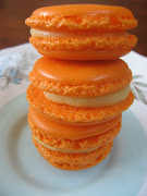 These are shamelessly copied from a FABulous mandarin macaron Jeff and I had . (img )