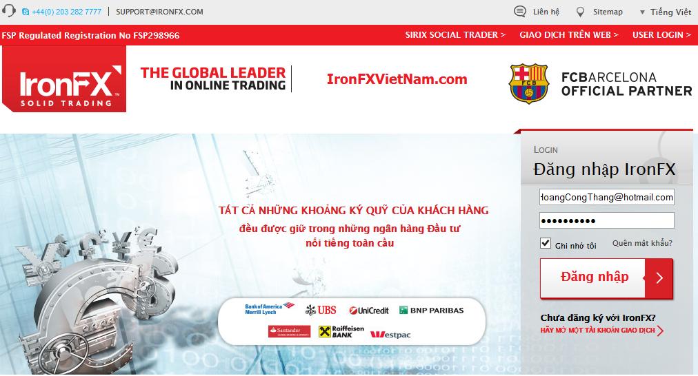 Đăng nhập cổng thông tin khách hàng IronFX