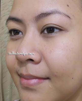 hasil palladio rice paper sisi yang mengandung bedak saat digunakan di wajah