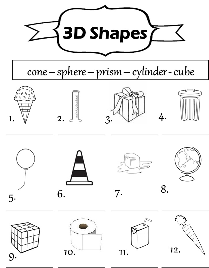 3d Shapes Worksheets 1st Grade Davezan – 3d Shapes Kindergarten Worksheets