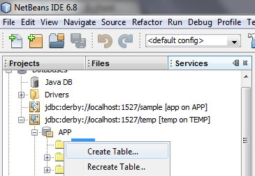 JavaDB, Netbeans