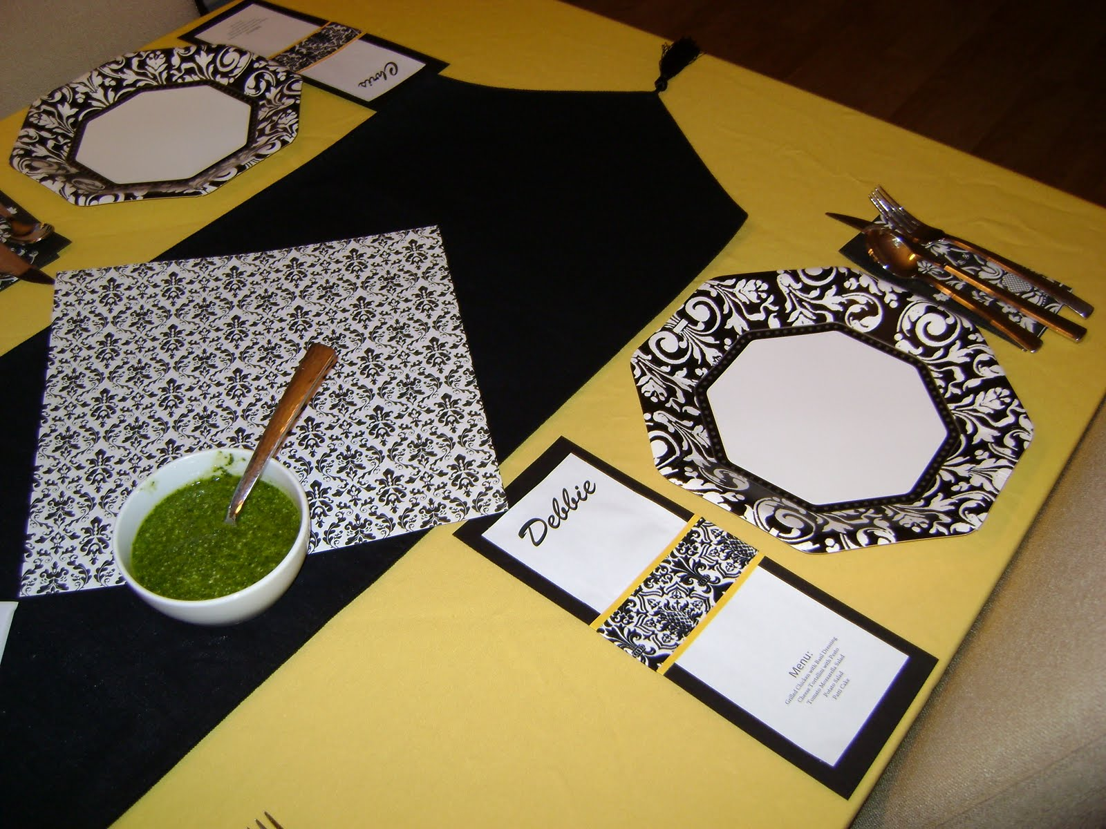 I found damask paper plates and napkins at the party store. I used more of the scrapbook paper to create the menu cards/place markers as well as the trim ... & Our Hobby House: Black White u0026 Yellow Damask Dinner Party