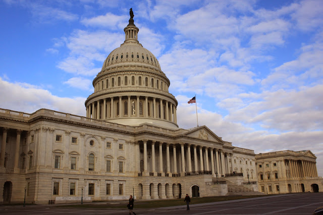 The side view of United States Capitol building in Washington DC, USA