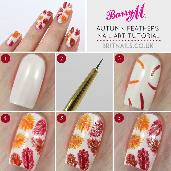 Autumn Feathers Nail Art Tutorial for Barry M | Brit Nails
