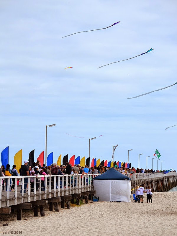 the crowd along the jetty