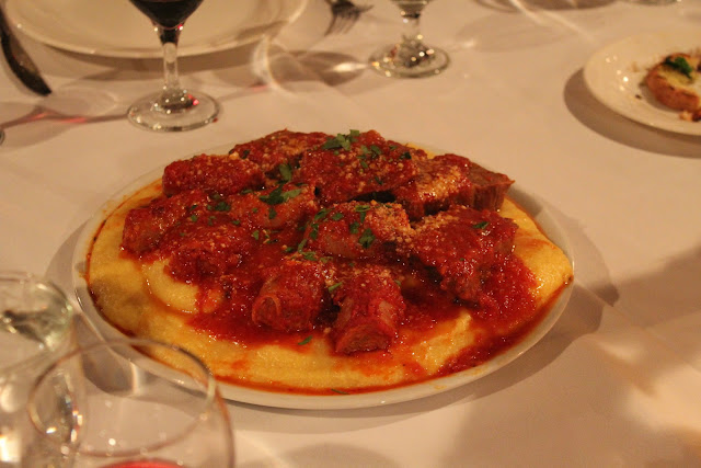 Polenta with braised short rib and sausage at Lucia Ristorante, Boston, Mass.