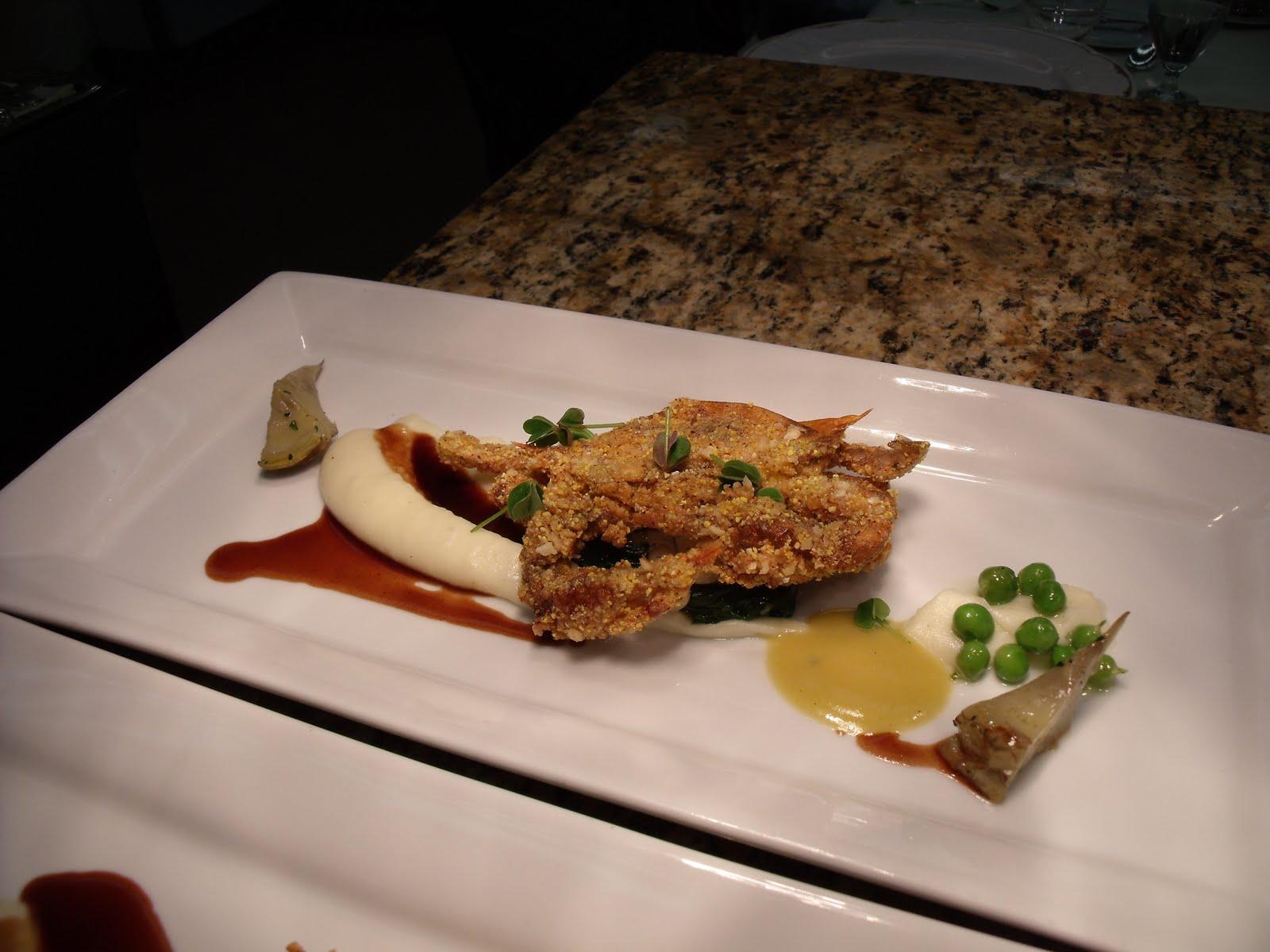 garlic-hazelnut-cornmeal crusted soft shell crab