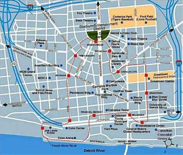 Nice city of Detroit Downtown map including the Detroit River.
