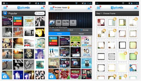 تطبيق مجاني لإنشاء وتحرير وتحسين الصور لأندرويد وويندوز فون وبلاك بيري PicMix APK-xap-BB 6.0