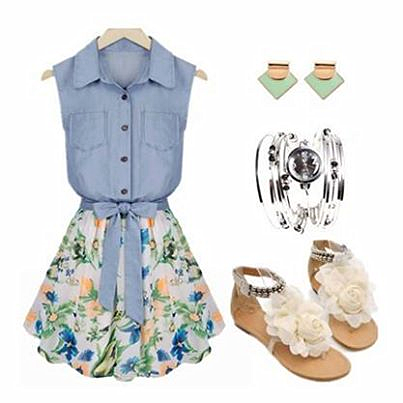 Blue Top, Floral Skirt, Sandals, Earrings | Outfits