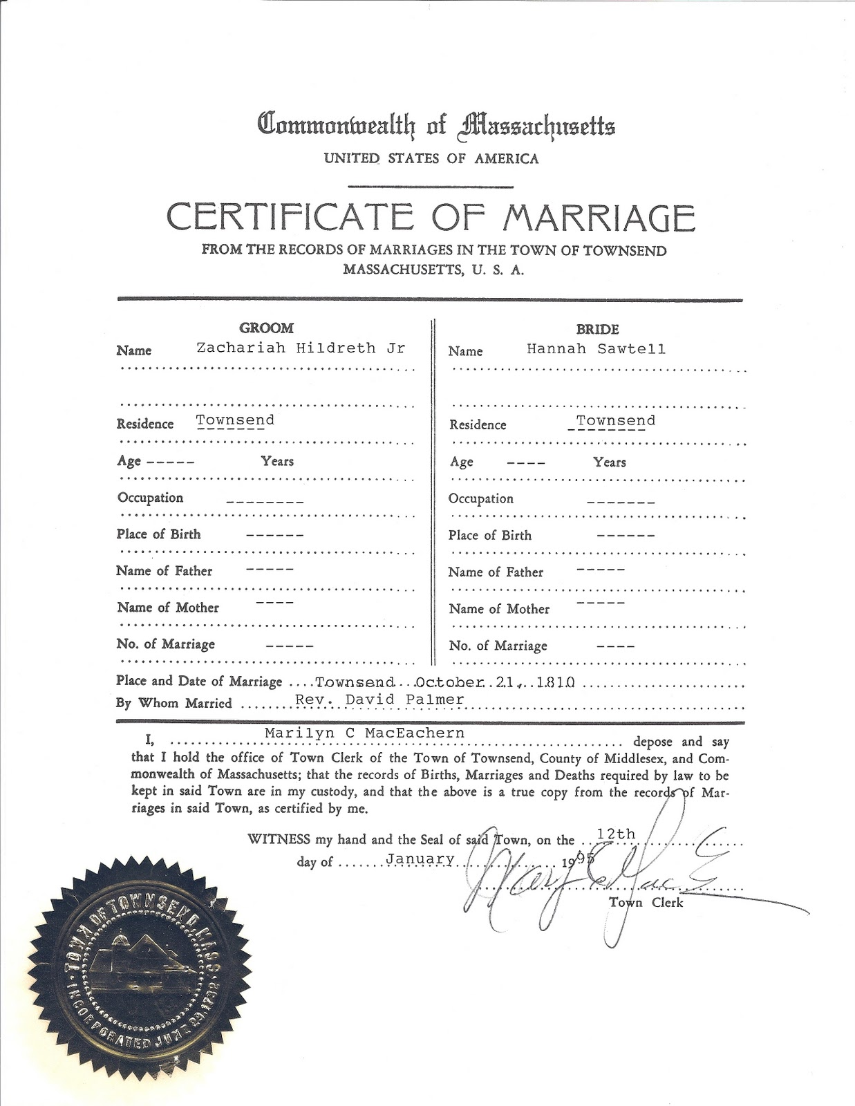 town clerk files mail marriage certificate form