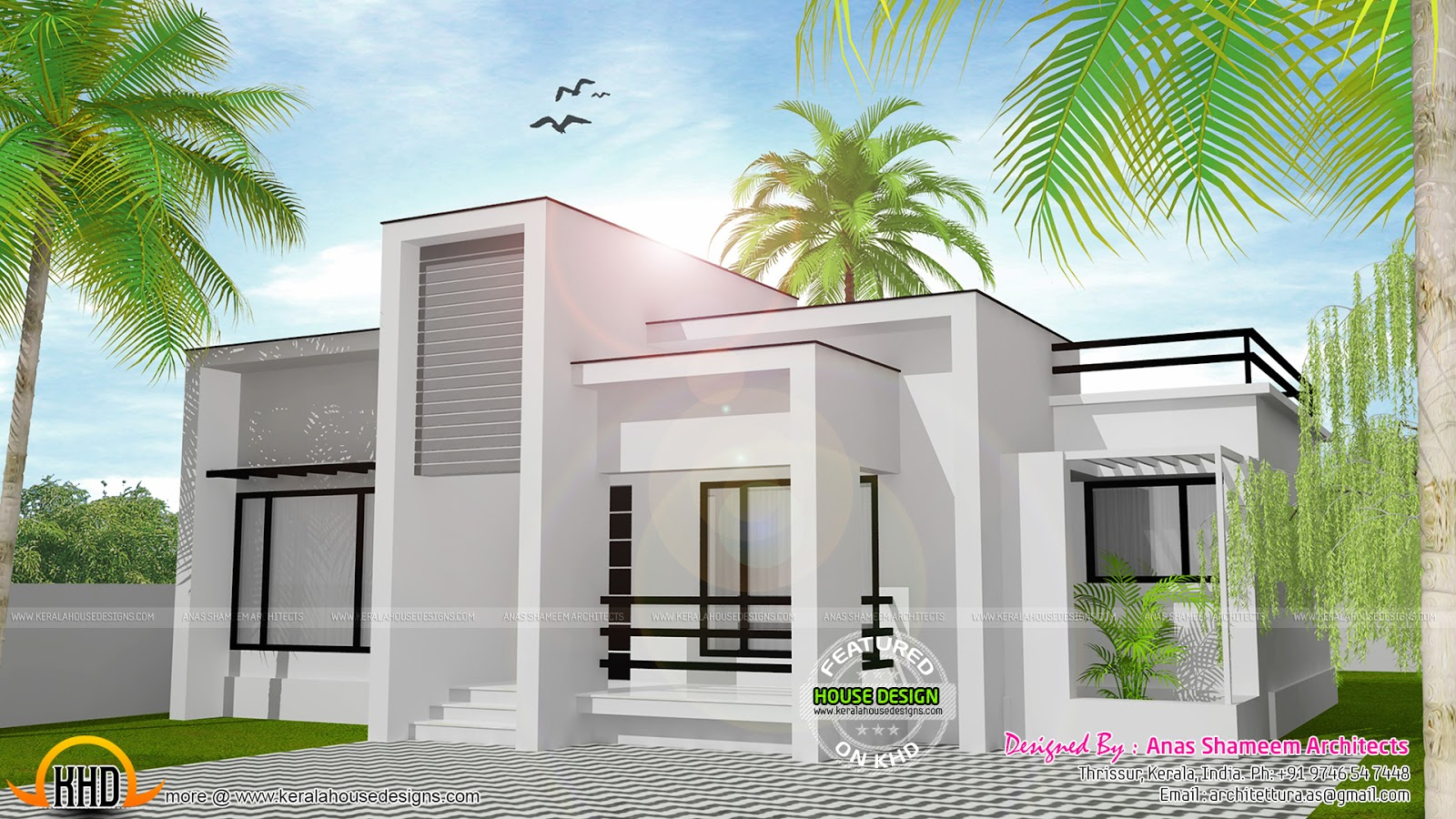978 sq ft flat roof single floor home kerala home design for Low cost house plans with photos