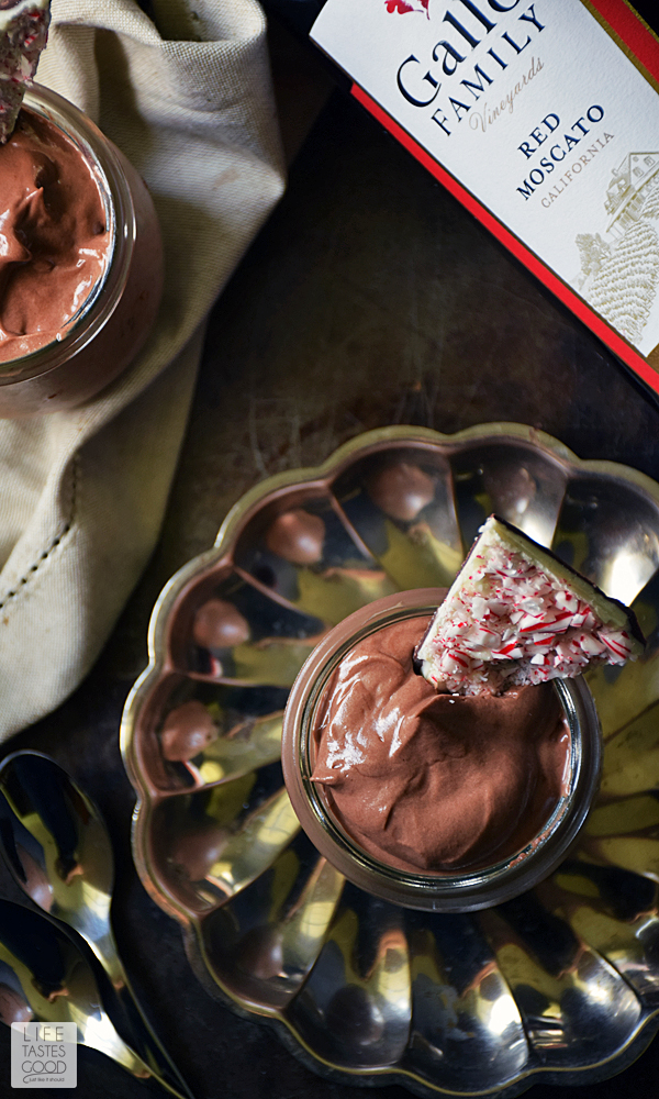 Chocolate Hazelnut Mousse | by Life Tastes Good - A rich, creamy chocolate hazelnut mousse paired with the fresh fruity flavors in a glass of Red Moscato wine is an elegant dessert I am proud to serve anytime of year, but especially during the holidays. It never fails to impress, and no one will ever know how incredibly easy it is to make! #LTGrecipes #SundaySupper