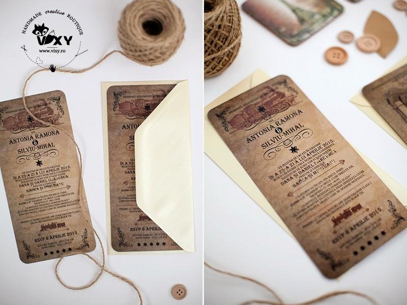 invitatie vintage, invitatie Orient Express, tema nunta orient express, invitatie nunta deosebita, invitatie nunta, vixy.ro, invitatie tematica orient express vintage