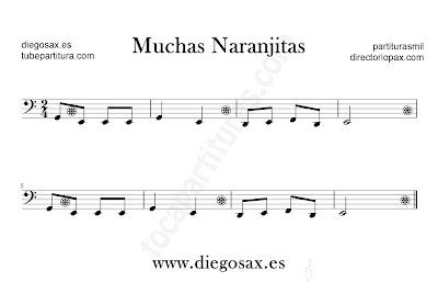 Muchas Naranjitas partitura para Trombón, Tuba, Violonchelo, Fagot, Bombardino... en Clave de Fa