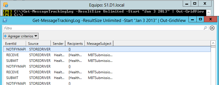 Exchange Server 2013: Message tracking con Out-GridView