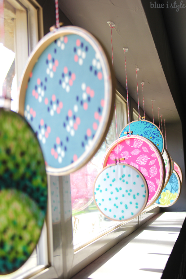 Fabric Filled Embroidery Hoops in Window