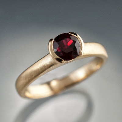 red spinel gold ring