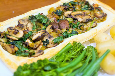 Vegan Leek, Mushroom and Spinach Tart