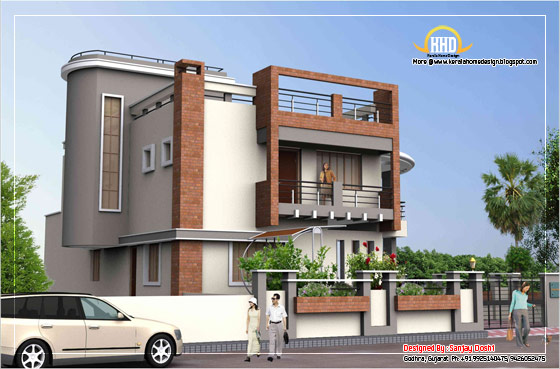 Duplex House Elevation side view - 392 Sq M (4217 Sq. Ft.) - February 2012